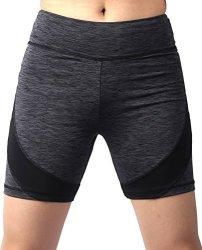 Neonysweets Womens Active Gym Workout Shorts Cycling Running Shorts Gray S