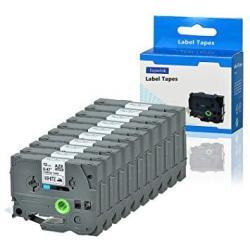 Superink 10 Pack Compatible For Brother TZE-FA231 Tze FA231 TZ-FA231 TZFA231 Black On White Fabric Iron-on Tape Cassette 12MMX3M