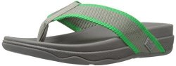 Fitflop Men's Surfer Super Cushioned Flip Flop Charcoal fresh Green 9 M Us