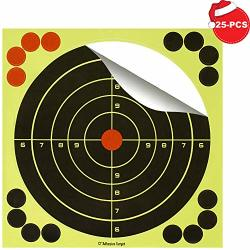 12 Inch Shooting Targets Adhesive Paper Bosican Reactive Bright Yellow Splatter Bullseye Target Stickers 16 Cover Up Patches For