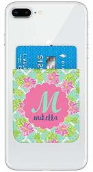 Preppy Hibiscus Genuine Leather Adhesive Phone Wallet Personalized