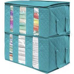 Sorbus Foldable Storage Bag Organizers 3 Sections Great For Clothes Blankets Closets Bedrooms And More 2 Pack Aqua
