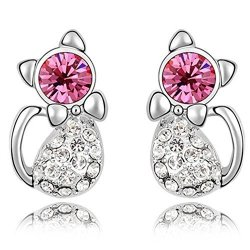Dazzle Flash Gold Plated Cat Stud Earrings With Swarvoski Crystal Element For Girls Teens Kids EGW156
