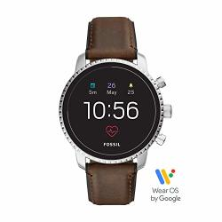 Men's Fossil Gen 4 Explorist Hr Heart Rate Stainless Steel And Leather Touchscreen Smartwatch Color: Silver Brown Model: FTW4015