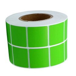 """Wootile 1"""" Inch Square Fluorescent Green Color Coding Dot Labels - 1 000 Colored Circle Stickers Per Roll"""