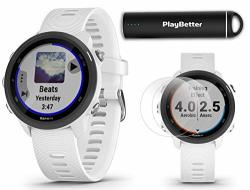 Garmin Forerunner 245 Music White Power Bundle +hd Screen Protectors & Playbetter Portable Charger Advanced Analytics Heart Rate Running Gps Watch 010-02120-21