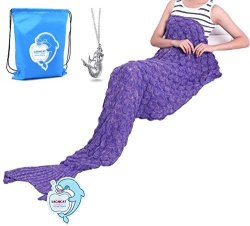 """LAGHCAT Knitted Fabric Mermaid Blanket And Mermaid Tail Blanket Crochet With Scales Pattern Adult children Sleeping BAGS.74.86""""X"""