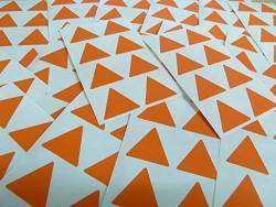 """25MM 1"""" Triangle Shape Color Code Stickers - Packs Of 96 Large Colored Triangular Sticky Labels - 32 Colors Available ... Dark Orange"""
