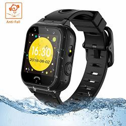 Themoemoe Kids Smartwatch Phone Kids Smartwatch Waterproof Anti-fall 2G Gps lbs Tracker Sos Camera Games Compatible With Android Ios Black
