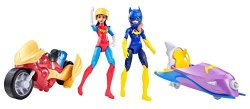 Combined Brands Dc Super Hero Girls Wonder Woman With Motorcycle And Batgirl With Batjet Gift Set