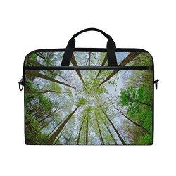 Jstel Forest Sky Sunlight Laptop Shoulder Messenger Bag Case Sleeve For 14 Inch To 15.6 Inch With Adjustable Notebook Shoulder Strap