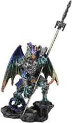 USA Ebros Gift Aurora Borealis Elemental Dragon With Battle Armor And Long Sword Letter Opener Statue Home And Office Table Desktop Decorative Sculpture M