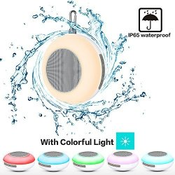 Pavlit Bluetooth Shower Speaker With Colorful LED Light Portable MINI Shower Travel Speaker With IP65 Waterproof Fm Built-in MIC