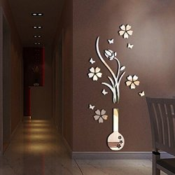 Vase Alrens Tm Luxury Plum Flowers Pattern 3d Mirror Wall Stickers Living Room Entrance Bedroom Tv Wall Decals Marriage Room Decorated Dining Room D