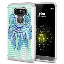 Fincibo Case Compatible With LG G5 H850 VS987 Dual Layer Football Skin Hybrid Protector Case Cover Anti-shock Grey Tpu For LG G5 - Teal