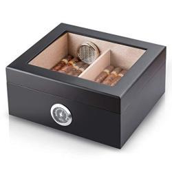 Cigar Humidor Handmade Wood Cigar Box Desktop Humidor With Hygrometer And Humidifier Cedar Divider Royale Glasstop Holds 20-25 C