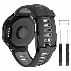 SOFT Isabake Silicone Sport Watch Band For Garmin Approach S20 S5 S6 Adjustable Black Buckle Watch Strap Compatible With Forerunner 735XT 230 220 235 620 630 Wristbands-black