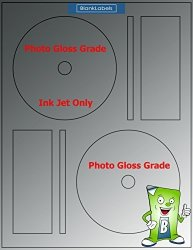 200 Ink Jet Photo Gloss Compatible With Memorex Full Face Cd DVD Labels. Small Center Style. 200 Total Glossy Cd Labels With Spine