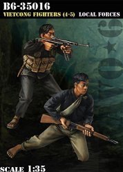 BRAVO6 1:35 Viet Cong Fighter 4-5 Local Forces Vietnam 2 Resin Figures B6-35016