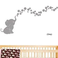 Decal The Walls Elephant Bubbles Nursery Wall Decal Set Grey
