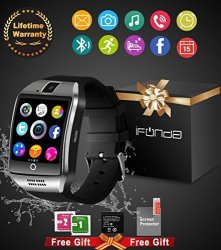 IFUNDA Bluetooth Smart Watch With Camera Waterproof Smartwatch Touch Screen Phone Unlocked Watch Cell Phone Smart Wrist Watch Wristband For Android Phones Samsung Ios Iphone