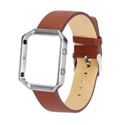 For Fitbit Blaze Lucoo Luxury Leather Watch Band Wrist Strap Replacement Metal Frame