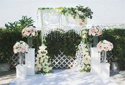 Leyiyi 10X6.5FT Wedding Ceremony Nature Park Backdrop Romantic Marriage Stage Floral Garland Arch Door Background Summer Garden Fence Engagement Bridal Shower Photo Portrait Studio