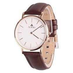 Aurora Watch Aurora Womens Classic Steel Quartz Watch With Brown Band Gold