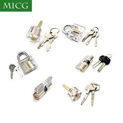 MICG 6PCS Locks Transparent Visible Cutaway Practice Kit Padlock Door Lock  Pick Training Skill For Locksmith Beginner | R | Office Supplies |