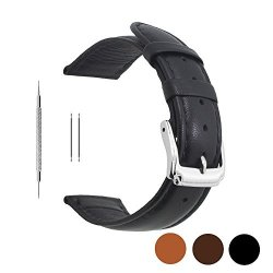 Berfine 18MM Black Calf Leather Watch Band Replacement Extra Soft Watch Strap For Men Women