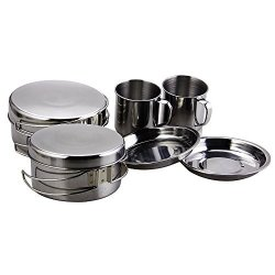 BeGrit Backpacking Camping Cookware Picnic Camp Cooking Cook Set For Hiking 8PCS SET 410 Stainless Steel